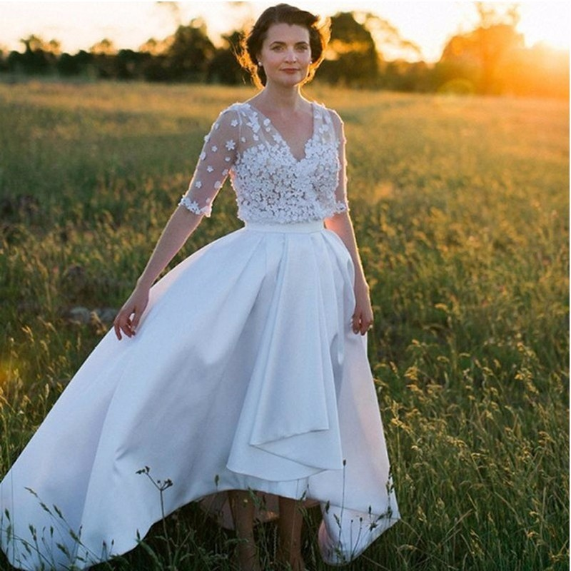 High Low Wedding Dresses Satin V Neck With Half Sleeves