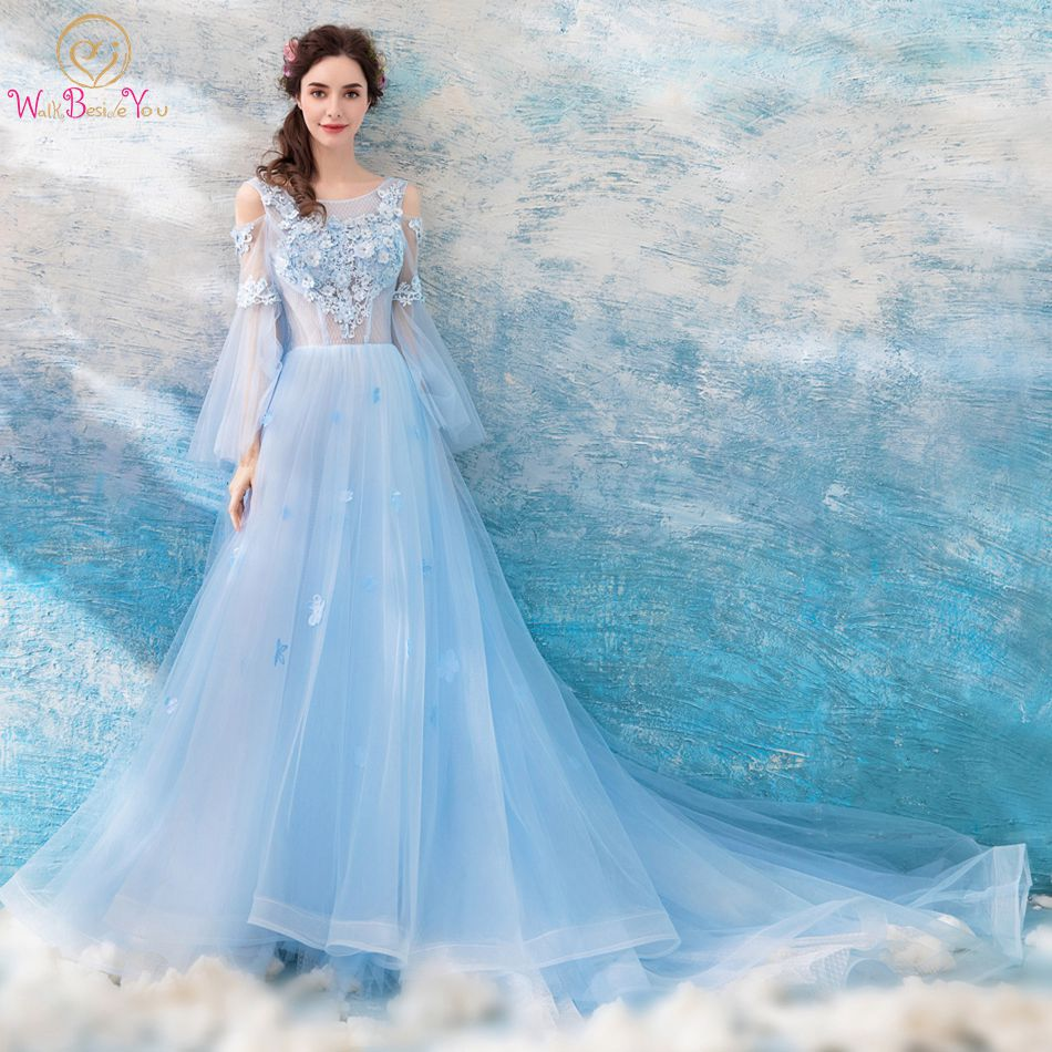 Walk Beside You Sky Blue   Prom     Dresses   Lace Applique Off Shoulder Long Sleeves Transparent with Floral Evening Gowns robe soiree