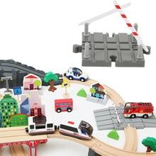 Plastic Road Houten Trein Spoor Accessoires Houten Trein Station Houten Track Barrière Educatief Universal Diy Speelgoed Voor Kinderen