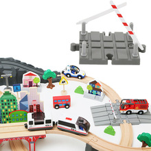 Plastic Road Wooden Train Track Accessories Wooden Train Station Wood Track Barrier Educational Universal DIY Toys For Children