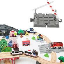 พลาสติกแผนที่รถไฟไม้อุปกรณ์เสริมไม้สถานีรถไฟไม้ TRACK Barrier การศึกษา Universal DIY ของเล่นเด็ก