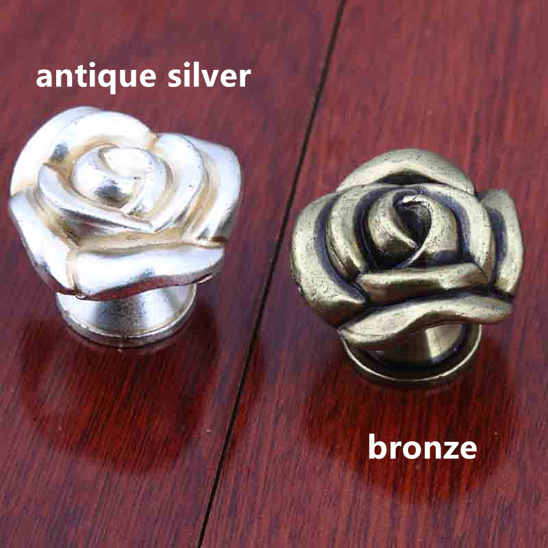 antique bronze rose drawer shoe cabinet knobs pulls vintage silver rose dresser door handles knobs retro furniture knobs handles 3 dresser pulls drawer pull handles kitchen cabinet door handles pulls knobs antique bronze silver black steel nickel 76mm