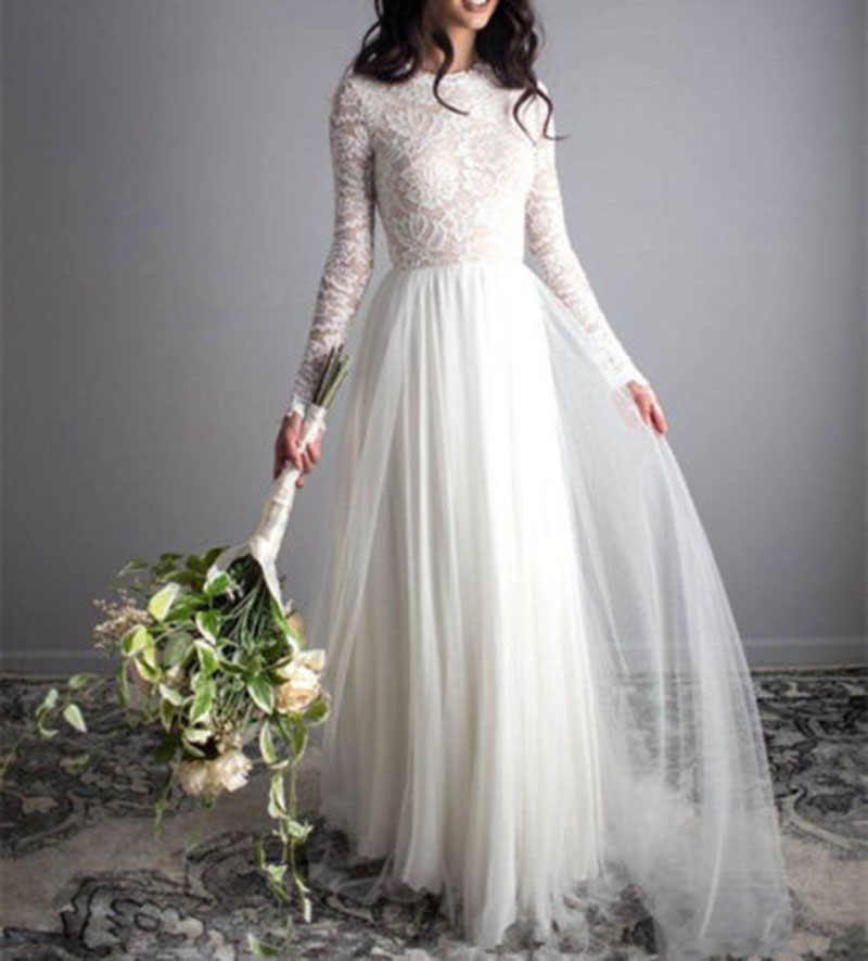 A line Boho Wedding Dress Lace Tulle Bridal Gowns Long Sleeves Simple Beach Floor Length Wedding Gown