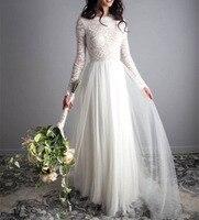 84484b032c4c3dc A Line Boho Wedding Dress Lace Tulle Bridal Gowns Long Sleeves Simple Beach  Floor Length Wedding