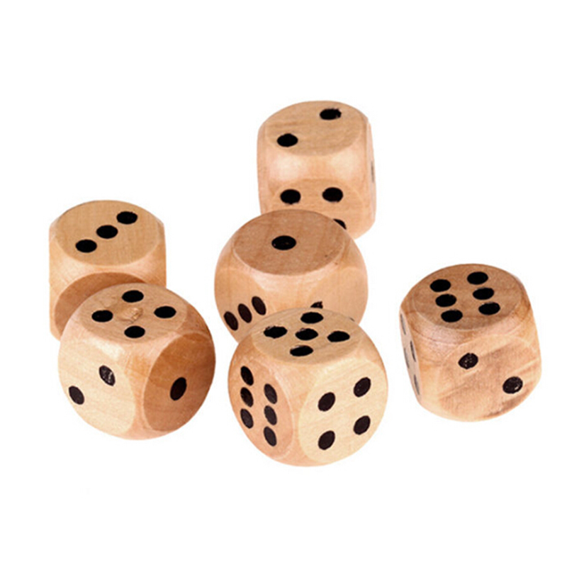 Wooden Dices Points Round Corner For Family Board Game Tabletop Light Weight Portable 6pcs 16mm 2018