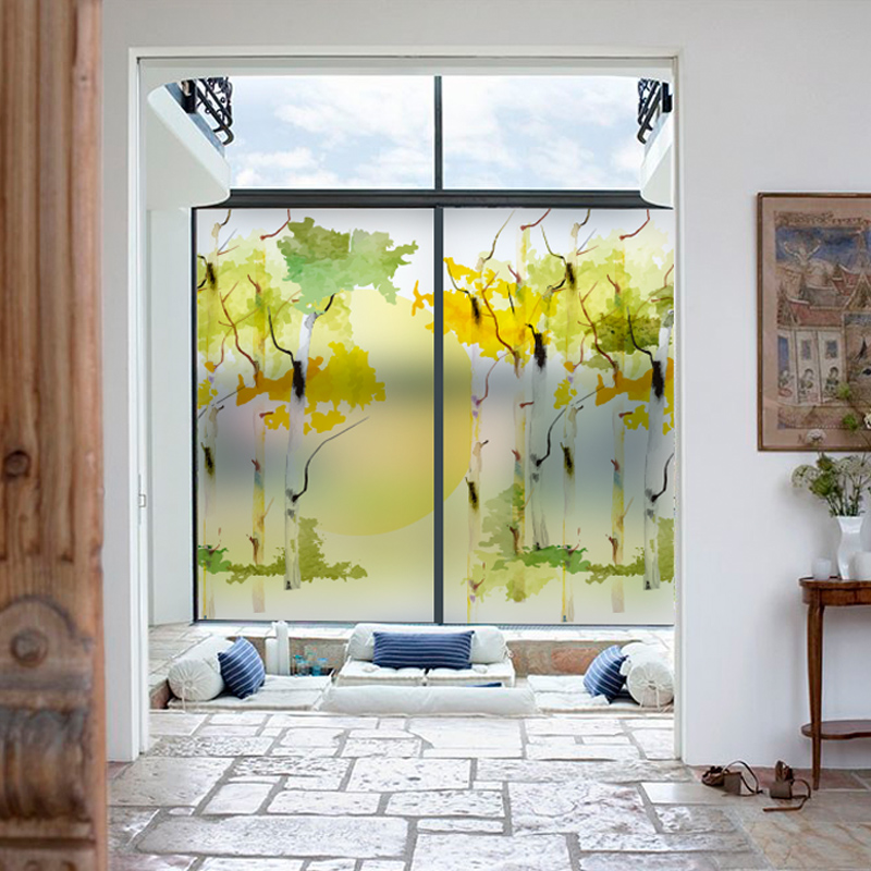 DIY Abstract Painting Glass Film Window Sticker Transparent Opaque Frosted No Glue For Living Room Bedroom Bathroom Decal Poster in Decorative Films from Home Garden