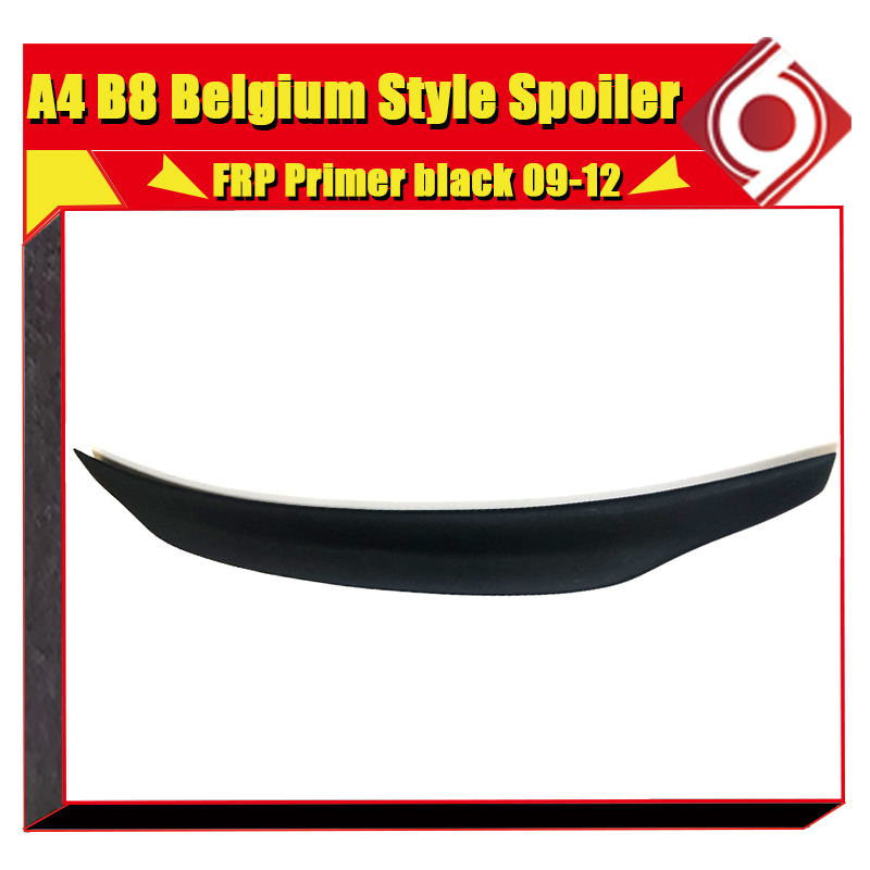 FRP Unpainted Belgium Style Rear Trunk Lip Spoiler Boot Lip Wing Fit For Audi A4 B8 Non Sline Sedan Wing Rear Spoiler 2009 2012 in Spoilers Wings from Automobiles Motorcycles
