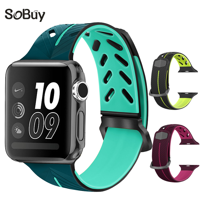 So buy sport Silicone strap for apple watch series 1/2/3 bracelet 38mm wrist band for iwatch 42mm watchband i watch rubber belt sport soft silicone iwo 5 6 7 strap series 3 2 1 for apple watch 42mm 38mm bracelet wrist band watch watchband for iwatch 3 2 1