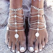 Europe and the United States selling jewelry wholesale retro beach punk metal coins footlet multi tassel Chain Anklet punk style layered coins tassel anklet for women