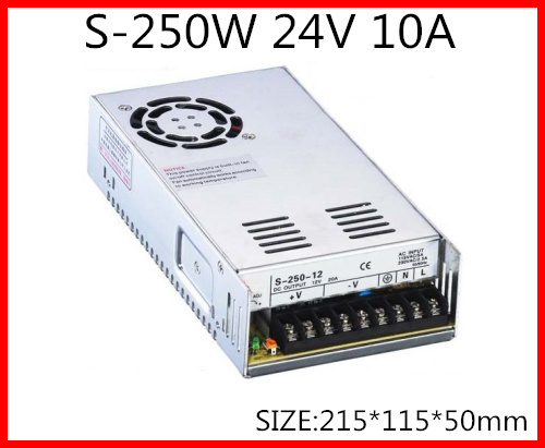S-250-24 250W 24V 10A  Single Output Switching power supply for LED Strip light  AC-DC With Fan 1200w 48v adjustable 220v input single output switching power supply for led strip light ac to dc