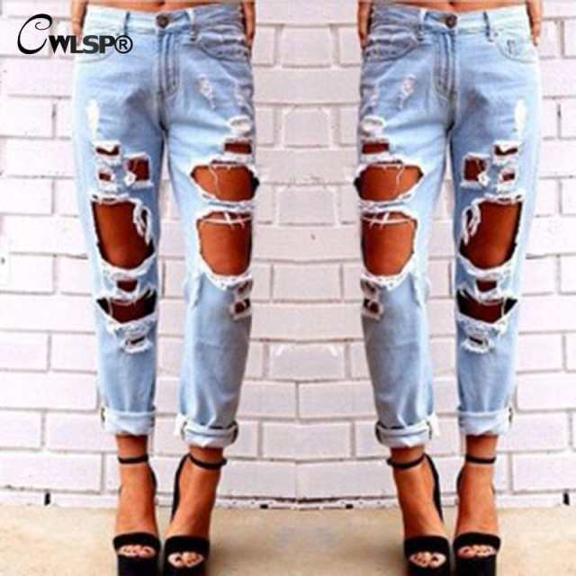 6134ba70b8a placeholder CWLSP Women Plus Size Vintage Torn Jeans Casual Washed Holes Ripped  Denim Jeans Sky Blue White