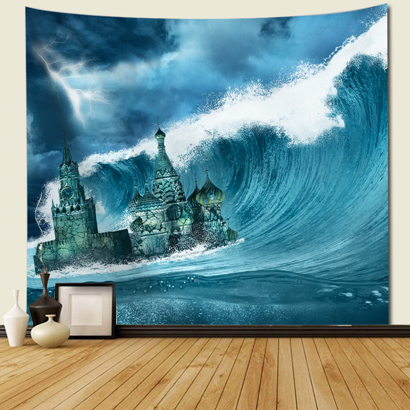 Beautiful Sea Printed Wall Tapestry ocean wave For Home Decoration Hanging Beach Throw Towel wall hanging tapestry