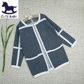 2015 de Otoño e Invierno de Ropa Infantil niñas de manga larga sweatercoat Cardigan para niñas Gruesos suéteres para niños 3-12Y