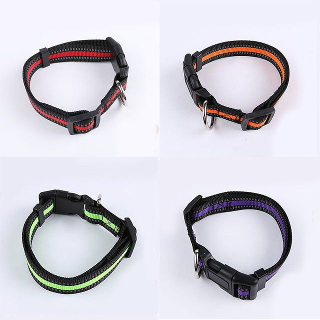Dog Collar Reflective Nylon Pet Collars Night Safety Small Medium Large dog Collar adjustable pet Collars for dogs lead walking
