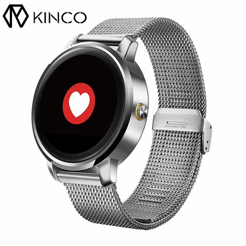 KINCO 240x204 1.22 inch 320mAH MTK 2502A HFP Heart Rate Sleep Monitor Bluetooth Health Pedometer Smart Watch for IOS/Android microwear l1 smartwatch phone mtk2503 1 3 inch bluetooth smart watch gps heart rate measurement pedometer sleep monitor