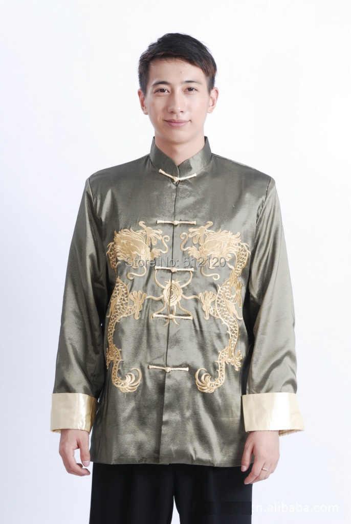 上海ストーリー長袖中国伝統服ダブルドラゴン刺繍ジャケット用男性マンダリン襟カンフージャケット
