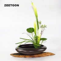 Japanese Flower Ikebana Flowerpot Tabletop Vase Large Basin Hydroponic Flower Pot Fish Tank Ceramic Container Vintage Home Decor