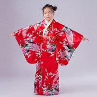 2018 new Child Novelty Cosplay Floaral Dress Japanese Baby Girl Kimono Dress Children Vintage Yukata Kid Girl Dance Costumes