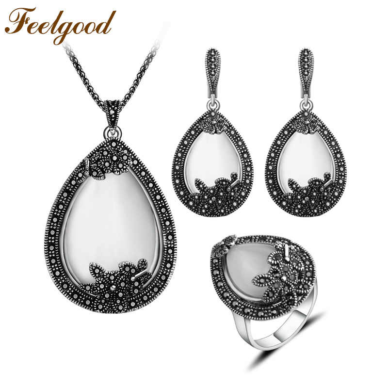 Feelgood Vintage Color Argento Gioielli Big Water Drop Set Collana Pendente In Pietra Naturale White Opal Jewelry Set Per Le Donne Regalo