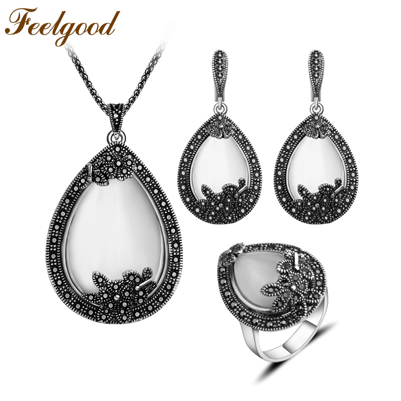 Feelgood Vintage Silver Color Jewellery Big Water Drop Pendant Necklace Set Natural Stone White Opal Jewelry Sets For Women Gift water drop jewelry sets for women fashion jewellery nature stone with crytal glass stud earrings and pendant necklace of party