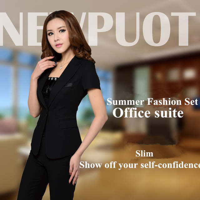 98c5e14adc277 2018 new fashion women business Pant Suits formal office work plus size  Slim short-sleeve
