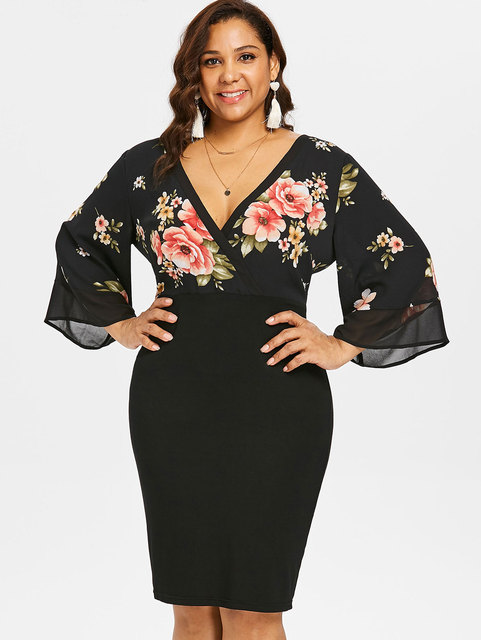 7e9b4b113cb Gamiss Women Plus Size 5XL Bell Sleeve Low Cut Floral Dress Plunging Neck  3 4