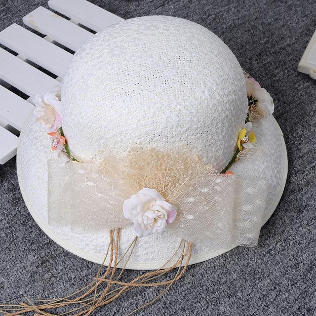 2017 Elegante Floral de Linho Chapéus De Casamento Com Arcos Flores Tulle Bridal Acessórios Para o Cabelo de Noiva Chapéus chapeau mariage para Noivas
