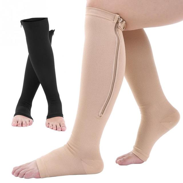 4a4995b1d3 Open Toe Compression Socks Sports Zipper Up Calf Knee Support Varicose  Relief Anti Fatigue Socks Braces Supports Foot Care Tool -in Foot Care Tool  from ...