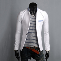 2018 new solid color cotton thin suits for men groom brightly colored mens blazer a buckle leisure dress suit jacket Men