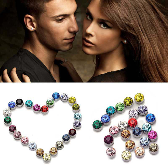 f88f5f253 1 Pair 4mm & 5mm Non Piercing Clip On Round Womens Mens Magnetic Ear Stud  Earrings New Unisex Earring