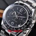 39 мм PARNIS черный циферблат сапфировое стекло Дата полный хронограф кварцевые мужские часы