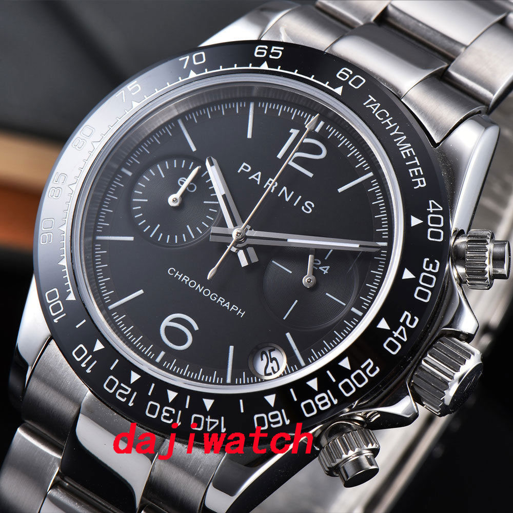 39mm PARNIS Black Dial Sapphire Crystal Date full Chronograph Quartz Mens Watch