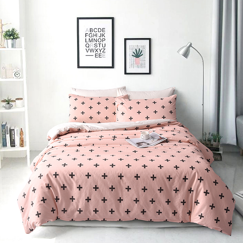 Europe style Simple printing Cotton4Pcs Bedding set Duvet Cover Bed Sheet Pillowcase Twin Full King size used home bedding set