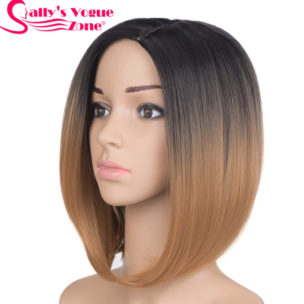 Sallyhair Middle Part 12inch Japanese High Temperature Fiber Synthetic Short Ombre Black Dark Blonde Color Bob Wig For Women