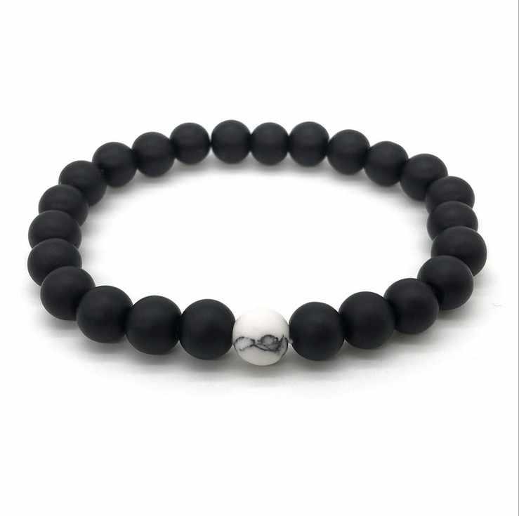 Trendy Black White Stone Beads Distance Bracelet Tourmaline Lava Yoga Strand Wristband for Women Men Couple Bangles Jewelry
