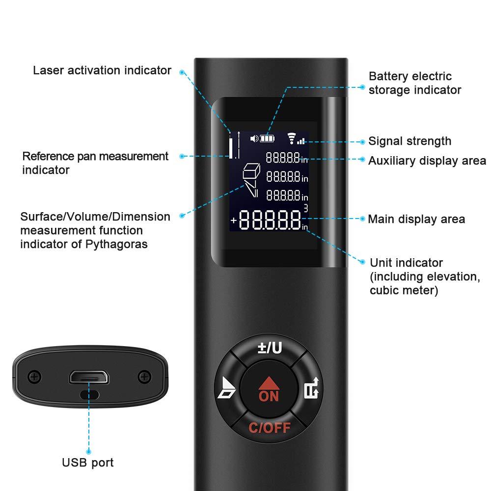 Image 3 - KKMOON Mini Handheld 40M Smart Digital Laser Distance Meter Range Rangefinder Portable USB Charging Distance Measuring Meter-in Laser Rangefinders from Tools