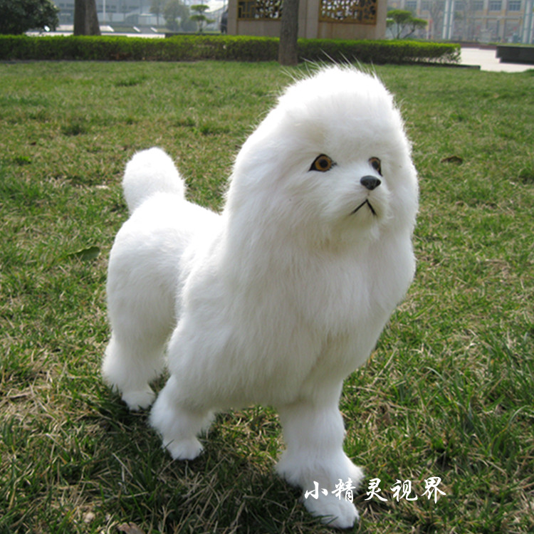 simulation dog large 37x30cm furry fur white standing poodle toy hard model home decoration Christmas gift h1183 large 30x25 cm simulation cat model toy lifelike white cat model home decoration gift t178