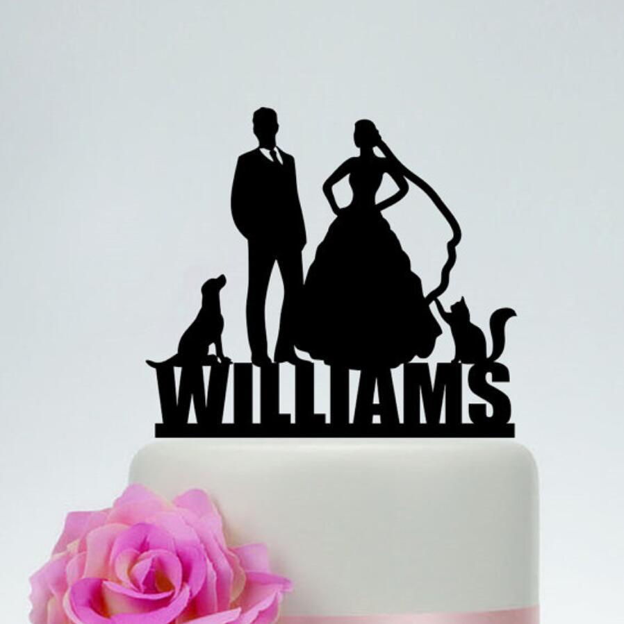 Wedding Cake Topper,Last name Cake Topper,Custom Cat and Dog Cake Topper,Pet Cake Topper,Bride and groom Cake Topper