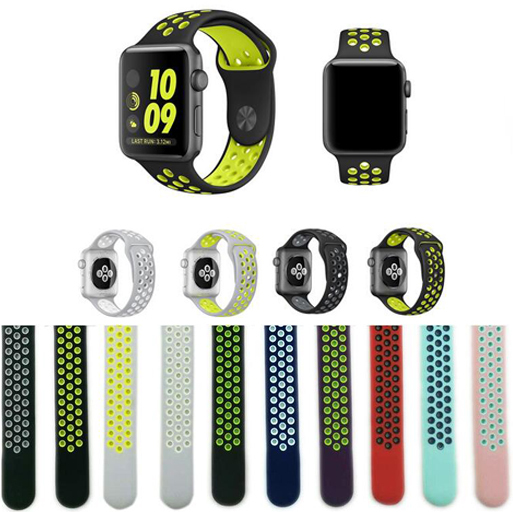 Newest Flexible Breathable Silicone Band for Apple Watch Sports Series 3&2&1 42MM 38MM Rubber for iwatch strap