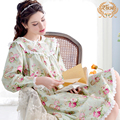 Sleepwear Female New Spring 100% Cotton Long-Sleeve Nightgowns Lace Round Neck Women Nightdress Floral Printed Lounge 2710