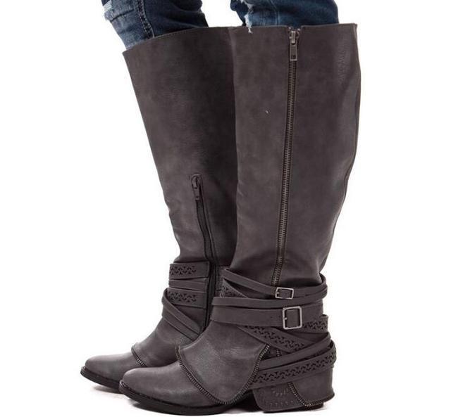 194855b6c088d Botas altas hasta la rodilla para mujer zapatos de invierno para niñas  martin botines cinturones hebilla