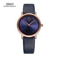 IBSO 7 6MM Ultra Thin Women Watches 2017 Fashion Waterproof Quartz Watch Women Luxury Genuine Leather
