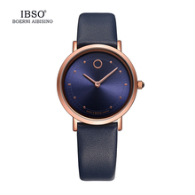 IBSO 7.6MM Ultra-Thin Women Watches 2017 Fashion Waterproof Quartz Watch Women Luxury Genuine Leather Strap Montre Femme