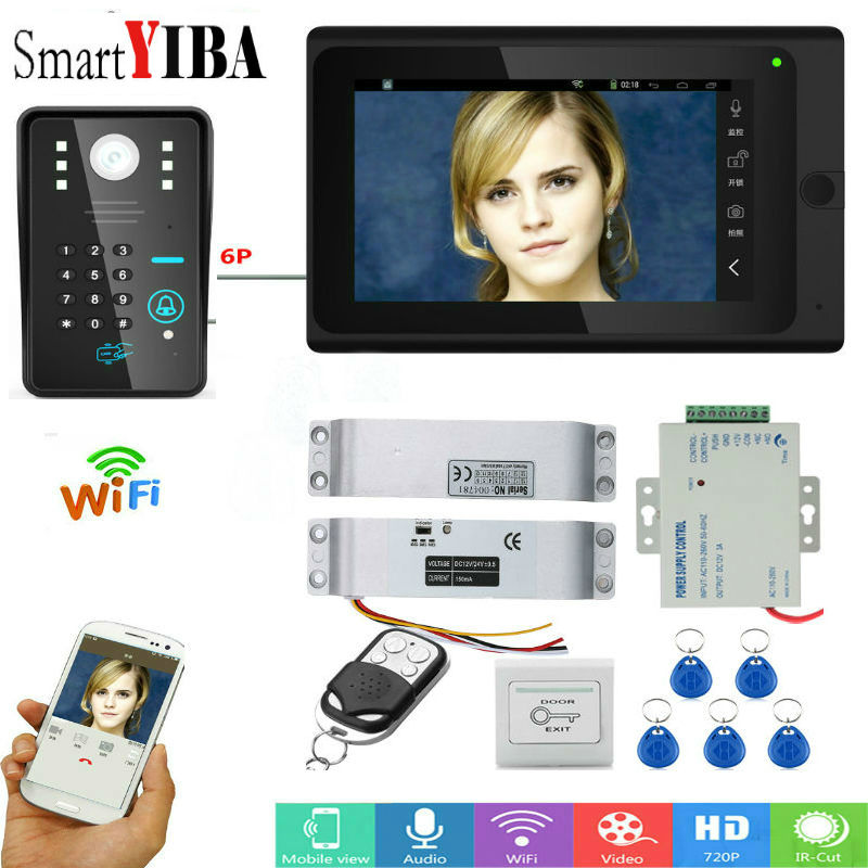 SmartYIBA 7 Video Intercom Doorbell Apartment Door Phone + 1 Monitors IR Camera for 1 Family + RFID Access System FREE SHIPPING