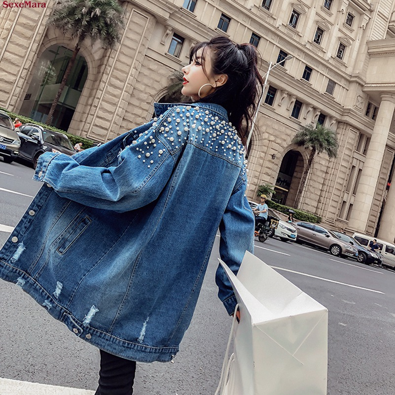 SexeMara fashion The New Loose Beading Hole Washed denim jacket Free shipping