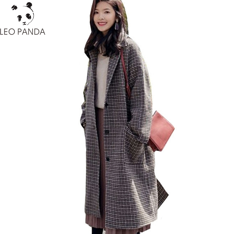 winter new Women clothing warm long Woolen cloth coat fashion loose large size female high-end double breasted plaid Outerwear