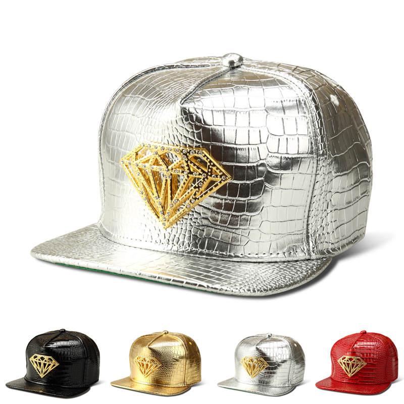 New-Crocodile-Grain-Baseball-Cap-Alloy-Cross-Tides-Male-Female-Hip-Hop-Hat-Snapback-Gold-Silver