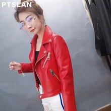 Ptslan 2017 Women S Real Leather Motorcycle Jacket Female Genuine Lambskin Sheepskin Jackets Motorbike Clothes Casual