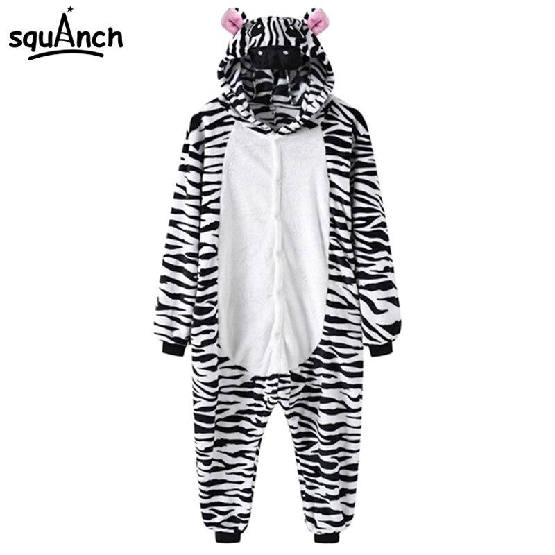 Animal Zebra Cosplay Costume Cartoon Onepiece Men Women Adult Funny Festival Wear Thick Warm Pajama Onesie Black Stripe Fancy