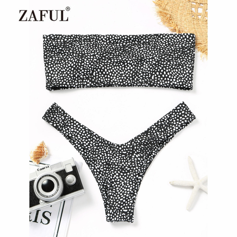 где купить ZAFUL Bandeau Bikini 2018 Leopard Swimwear Women Print Thong Bandeau High Cut Swimsuit Sexy Brazilian Biquni Bathing Suit дешево